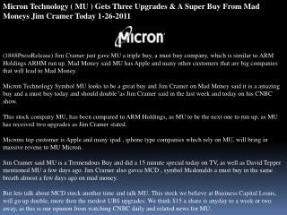 micron technology ( mu ) gets three upgrades & a super buy f