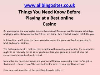 Things You Need Know Before Playing at a Best online Casino