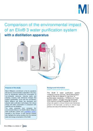 Elix® 3 water purification system with a distillation apparatus