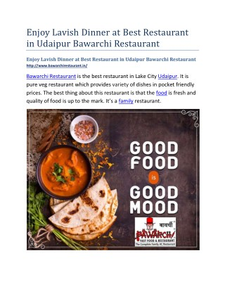 Enjoy Lavish Dinner at Best Restaurant in Udaipur Bawarchi Restaurant