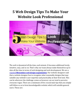 5 Web Design Tips To Make Your Website Look Professional