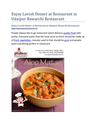 Enjoy Lavish Dinner at Restaurant in Udaipur Bawarchi Restaurant