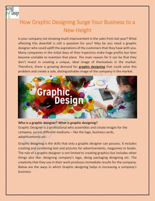 How Graphic Designing Surge Your Business to a New Height
