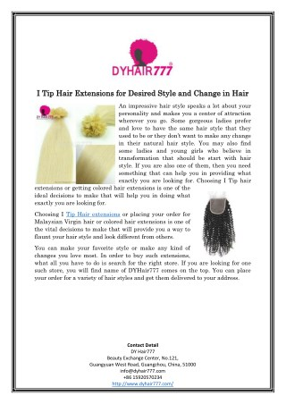I Tip Hair Extensions for Desired Style and Change in Hair