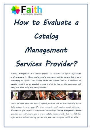 Tips to Evaluate Catalog Management Service Providers