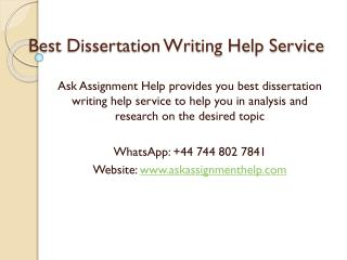 Best Dissertation Writing Help Service