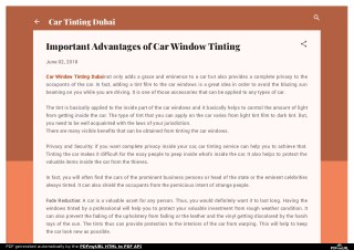 Important Advantages of Car Window Tinting