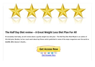 The Half Day Diet PDF EBook Free Download