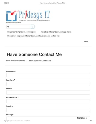 Have Someone Contact Me | Pridesys IT Ltd