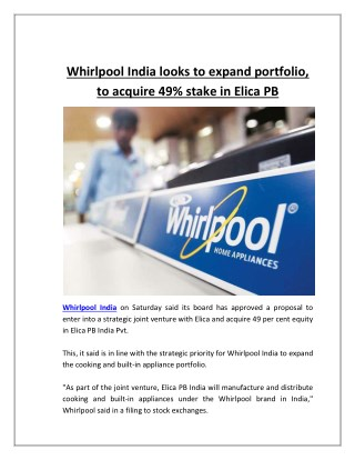 Whirlpool India Looks to Expand Portfolio, To Acquire 49% Stake in Elica PB
