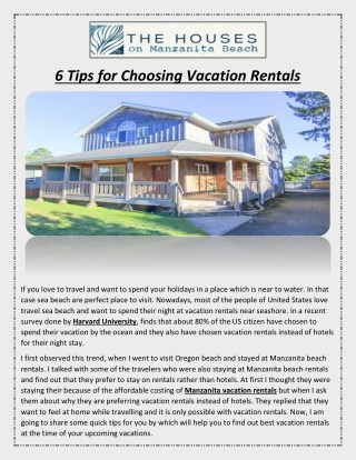 6 Tips for Choosing Vacation Rentals