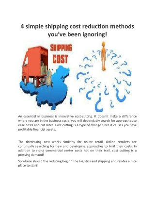 4 simple shipping cost reduction methods you've been ignoring!