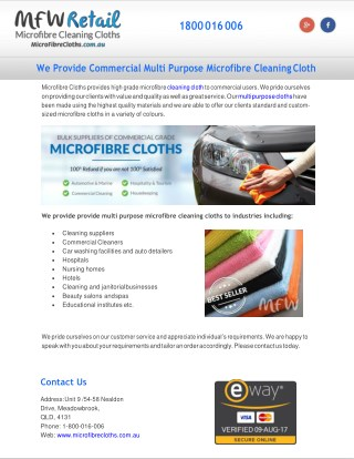 We Provide Commercial Multi Purpose Microfibre Cleaning Cloth