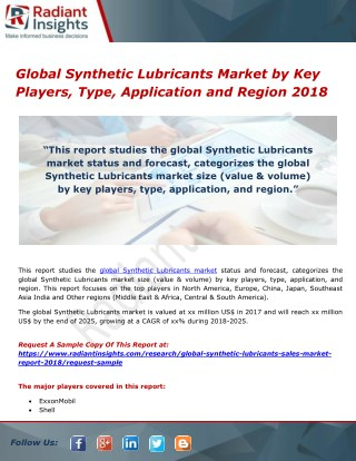 Global Synthetic Lubricants Market by Key Players, Type, Application and Region 2018