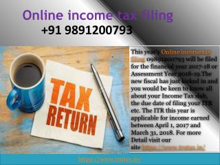 Online income tax filing 09891200793 FY 2018-19