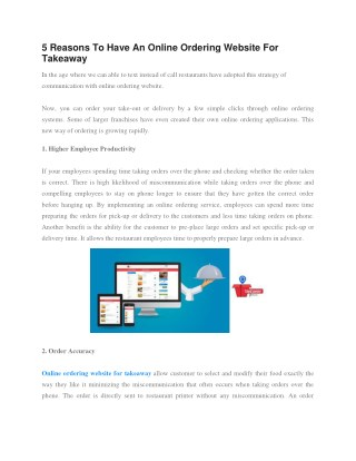 5 Reasons To Have An Online Ordering Website For Takeaway
