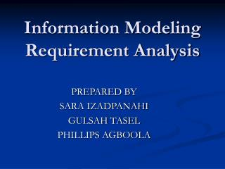 Information Modeling  Requirement Analysis