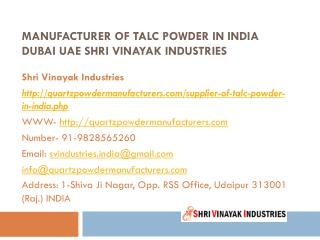 Manufacturer of Talc powder in India Dubai UAE Shri Vinayak Industries