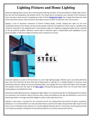 Lighting Fixtures and Home Lighting | Steel Lighting Co