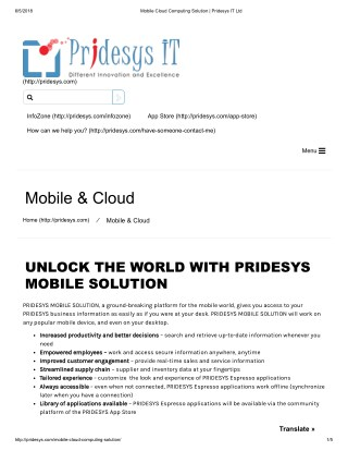 Mobile Cloud Computing Solution | Pridesys IT Ltd