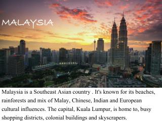 Malaysia Tourist Visa, Places and Documents Required