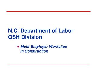 N.C. Department of Labor OSH Division