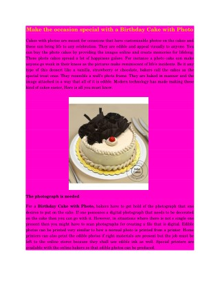 Make the occasion special with a Birthday Cake with Photo
