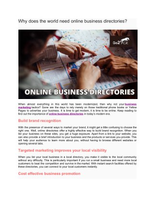 Why does the world need online business directories?