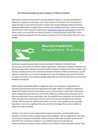 Automation anywhere training USA