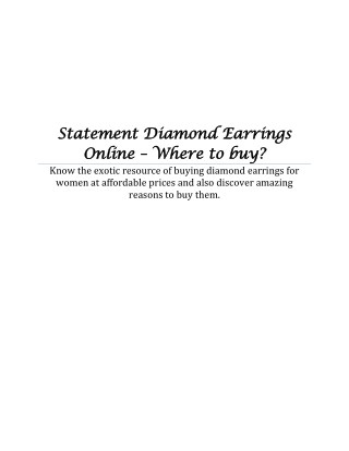 Statement Diamond Earrings Online – Where to buy?