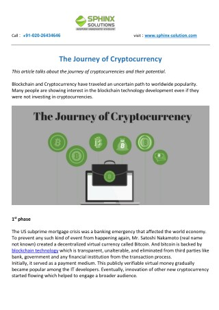 The Journey of Cryptocurrency