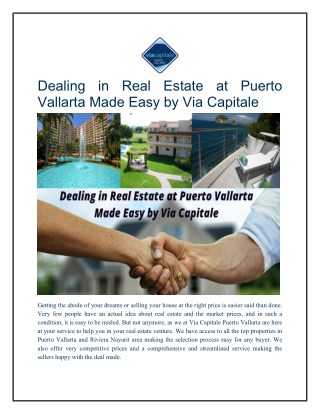 Dealing in Real Estate at Puerto Vallarta Made Easy by Via Capitale