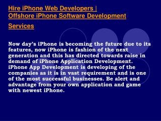 Hire Offshore iPhone 4 Apps Programmers in India