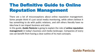 Guido Paniccia gives 4 reason why online reputation management