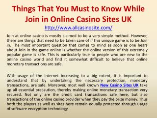 Things That You Must to Know While Join in Online Casino Sites UK
