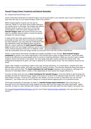 Toenail Fungus Home Treatment and Natural Remedies