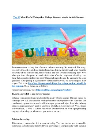 Top 10 Most Useful Things that College Students should do this Summer