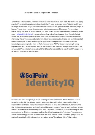 sailpoint idm training
