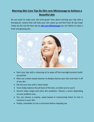 Morning Skin Care Tips By Skin care Mississauga to Achieve Beautiful skin
