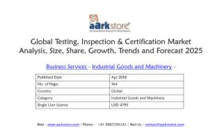 Global Testing, Inspection & Certification Market Analysis, Size, Share, Growth, Trends and Forecast 2025 | Aarkstore