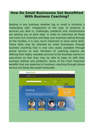 How do small businesses get benefitted with business coaching?