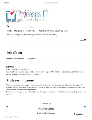 InfoZone | Pridesys IT Ltd