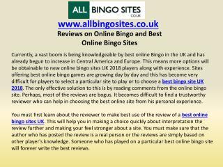 Reviews on Online Bingo and Best Online Bingo Sites