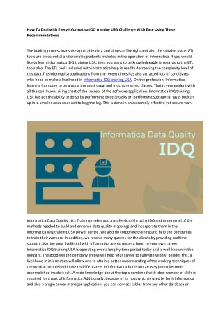 Informatica IDQ training USA