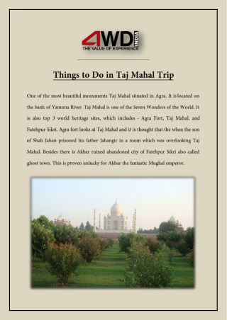 Things to Do in Taj Mahal Trip