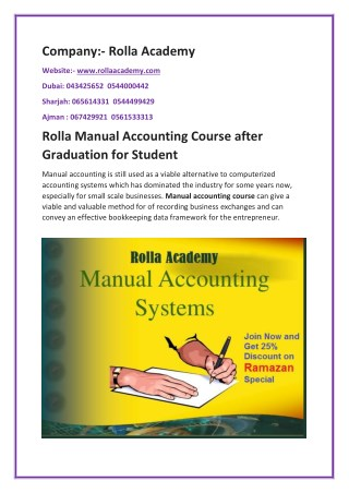 Rolla Manual Accounting Course after Graduation