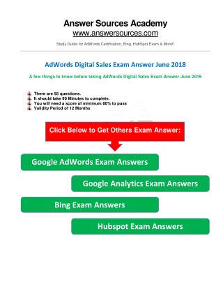 AdWords Digital Sales Exam Answer June 2018