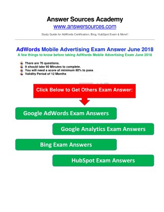 Google AdWords Mobile Advertising Exam Answer June 2018