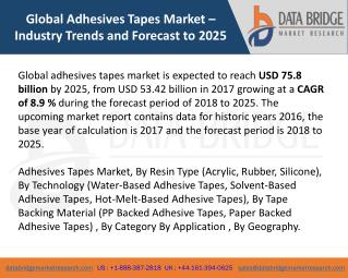 Global Adhesives Tapes Market– Industry Trends and Forecast to 2025
