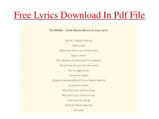 Free Lyrics Download In Pdf File